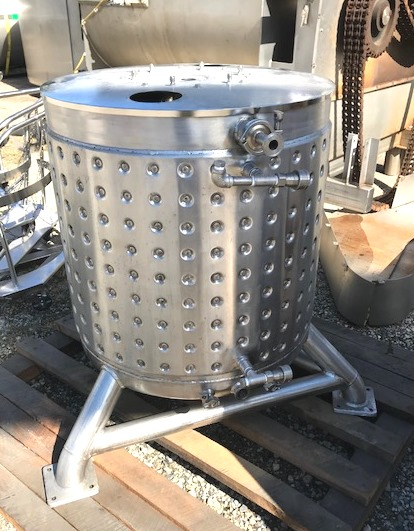 used 79 Gallon (300 Liter) Jacketed Sanitary Stainless Steel Tank/Kettle. Built by Stainless Technology. Jacket rated 60 PSI @ 200 Deg.F. Open top with lid. Dish Bottom. Polished inside.