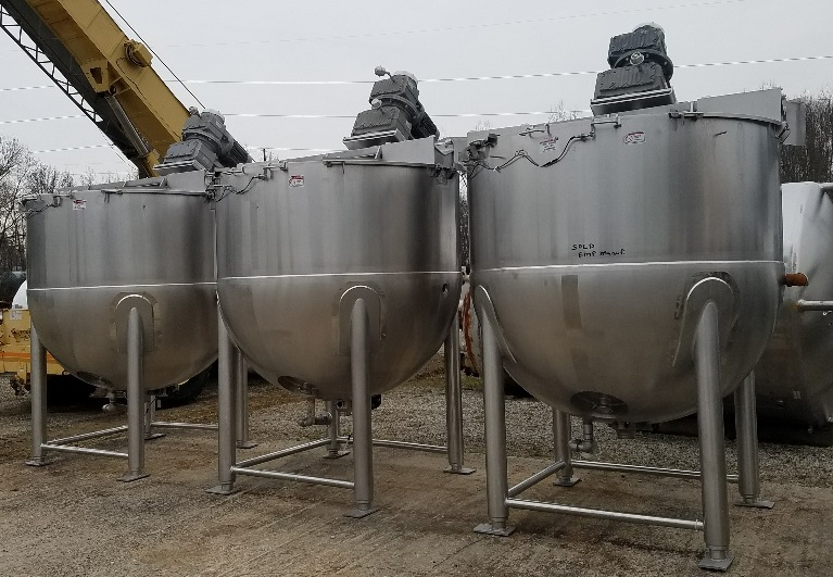 ***SOLD*** (3) used 1000 Gallon LEE Double Motion Jacketed Mix Kettles. Model 1000D9MS.  316 Stainless steel. Jacket rated 90 PSI @ 332 Deg.F. 76