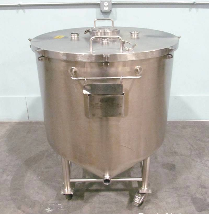 (2) used 92 Gallon (350 Liter) Sanitary Stainless Steel tanks. Flat, lift off lid.  Cone bottom to side bottom outlet. Electro-polished inside.  Portable, mounted on wheels. Built by Gastier.