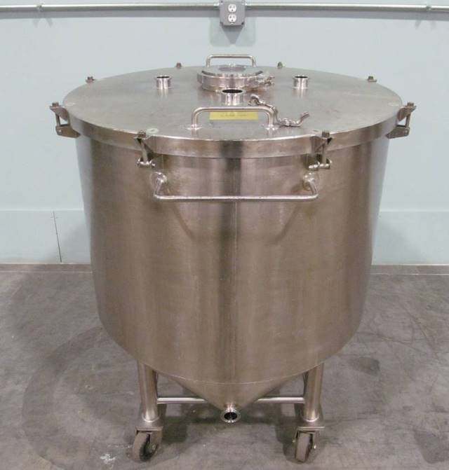 (2) used 92 Gallon (350 Liter) Sanitary Stainless Steel tanks. Flat, lift off lid.  Cone bottom to side bottom outlet. Electro-polished inside.  Portable, mounted on wheels. Built by AIF.