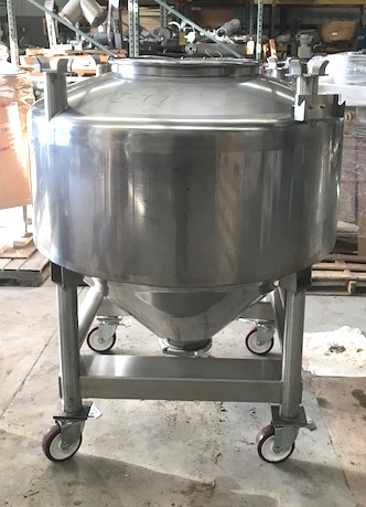 used 200 Gallon Sanitary Stainless Steel Tote. 4' Dia. x 20