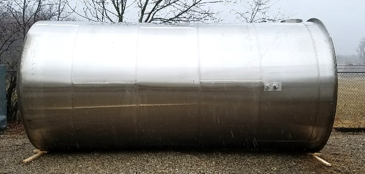 used 8,000 gallon stainless steel storage tank.  Dish top, cone bottom. 9' dia. x 16' T/T. Insulated then stainless steel shroud.  Sanitary tri-clover fittings.  3