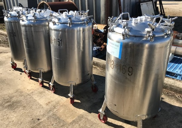 ***SOLD*** (4) Used 60 Gallon Mueller portable Tote/Vacuum Vessels. 24