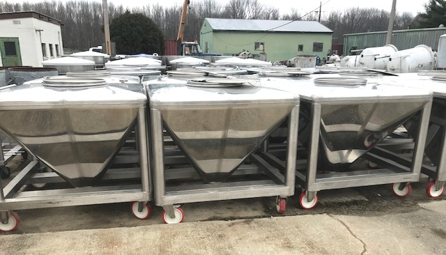 (9) used approx 200 Gallon (800 Liter, 26 cuft.) Sanitary Stainless Steel Portable Tote Tanks. Built by SteriValves. 53