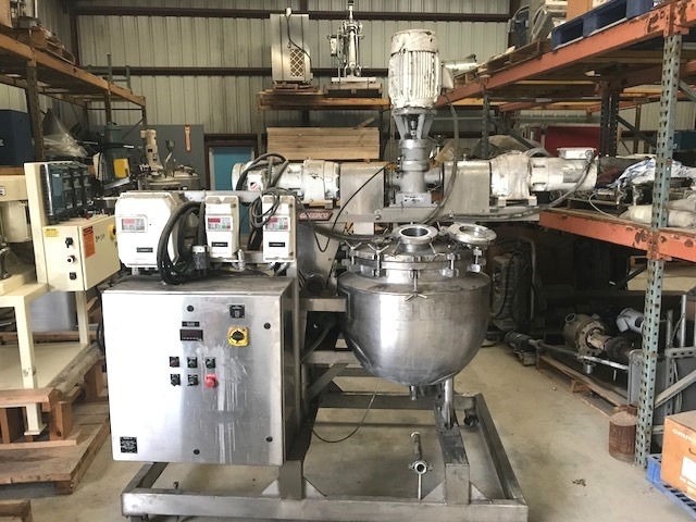 used 30 Gallon Triple Motion Jacketed Vacuum Kettle built by JC Pardo and Gifford-Wood. Model 30 GAL AGI. Internal rated 15/Vacuum @  338 Deg.F.  Jacket rated 100 PSI @ 338 Deg.F.. NB #1522. Has Tilt-out, counter rotating scraping and homogenizing mixer. Drives from right to left are (1) 3/4 HP, 1725 rpm, (1) 5 HP, 3505 rpm, (1) 1 HP 1750 rpm. All are 230/460 volt. Sanitary construction.