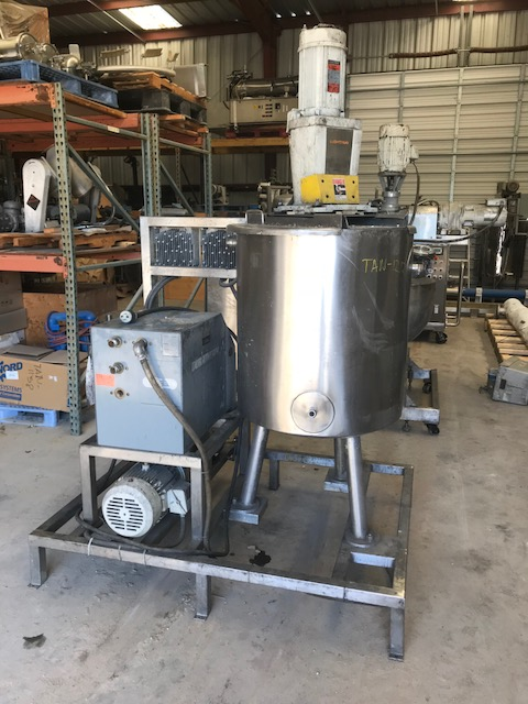 ***SOLD*** used 50 Gallon Jacketed 316 Stainless Steel Mix Tank with Heater.  2'2