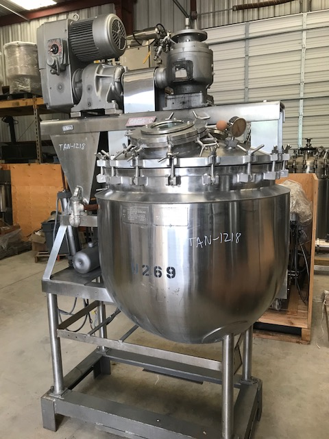 Used 100 Gallon Stainless Steel Triple Motion Vacuum Sanitary Kettle.  Internal rated 15 psi @ 287 Deg.F.  Jacket rated 40 psi @ @ 287 Deg.F.  Sweep scraper agitator with center mounted shaft through shaft high speed homogenizer mixer.  Vari-speed drive.  Bolted dished top. Center bottom outlet. Built by JC Pardo. Missing motor for high shear mixer. SN 3676.  NB1588.