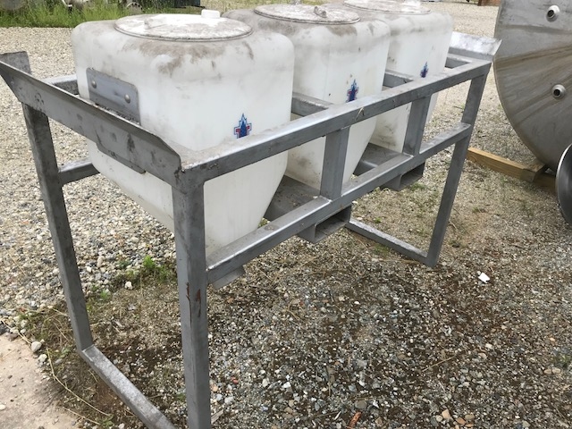 used (3) Tank Ingredient Feed System. (3) Each Poly Tanks Approx. 15 Gallon and 16