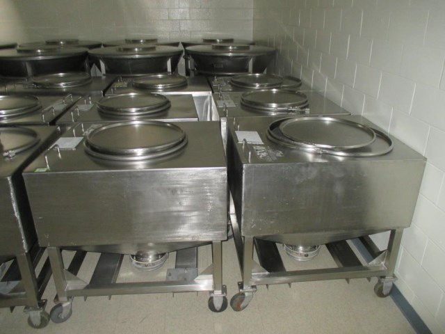 (18) used 140 Gallon Portable Product Transfer Tote Tanks(19 Cu.Ft.).  Stainless Steel Sanitary construction. 35