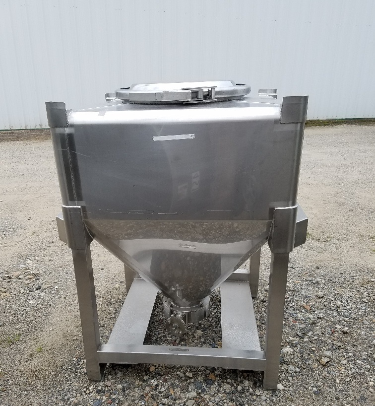 Approx 10 cu.ft. Stainless Steel Sanitary Tote Tank (~80 gallons).  30