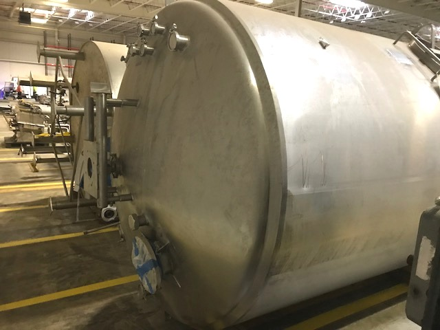 ***SOLD*** used 2000 Gallon Cherry Burrell Jacketed Mixing Tank.  Jacket Rated 100 PSI @ 350 Deg.F.  NB # 4283. Dish Top and Bottom.  7' ID x 8' T/T. ~ 13'9