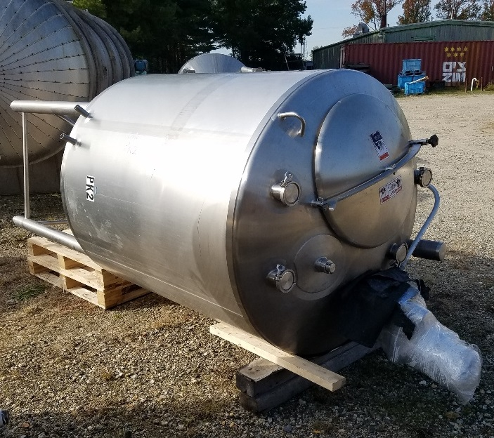 used 500 gallon sanitary 316L stainless steel jacketed mixing tank built by WALKER.  Jacket rated 75 PSI @ 320/-20 degF.