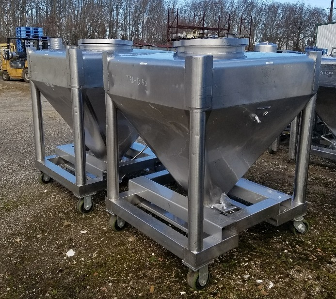 ***SOLD*** (2) Approx 30 cu.ft. Stainless Steel Sanitary Tote Tank (~225 gallons). 43