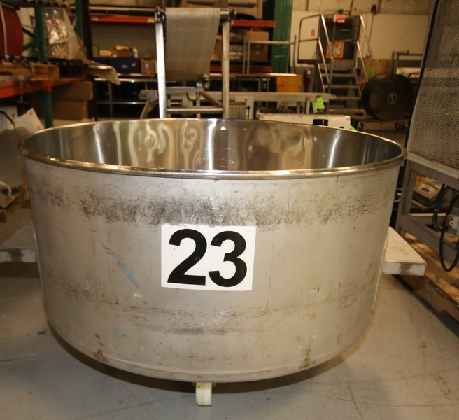 (4) 200 Gallon Portable Round Column Dump Totes, Stainless Steel. Mounted on Wheels. 49