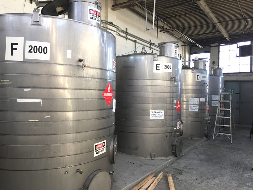 (4) used 2,000 Gallon Jacketed Stainless Steel Storage Tanks.  Slope bottom, cone top. 7' dia. x 7'10