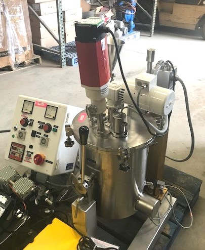 used 5 Gallon (20 Liter) Esco Labor Jacketed Vacuum Mixing Kettle, Processing Plant with Sweep mixer with Scraper and Colloid Homogenizing mixer. Model EL-20. S/N 1024. Sanitary Construction. Includes vacuum system.  Vessel is 1' Dia. x 14