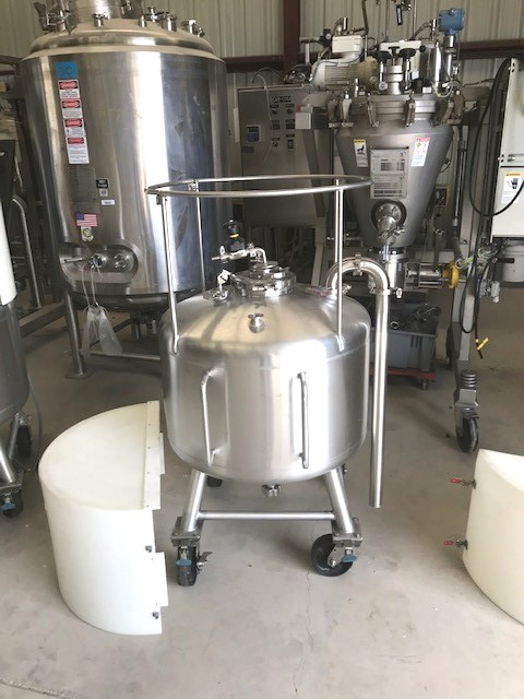 used 52 Gallon (200 Liter) Sanitary Pressure vessel/Tote. Built by Sharpsville Container. 316L Stainless steel. Rated 40 PSI/Full Vacuum @ 300 Deg.F.. 30