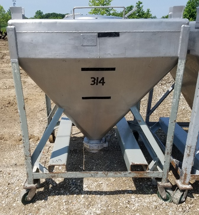 (15) Approx 20 cu.ft. Stainless Steel tote/hopper tank (~150 gal). Stackable and portable on wheels. 3'6