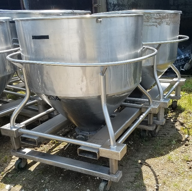 (9) Approx 30 cu.ft. Stainless Steel tote tank (~225 gal). Portable on wheels. 3'9