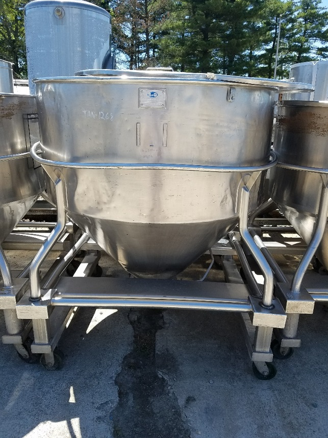 (2) Approx 45 cu.ft. Stainless Steel tote tank (~335 gal). Portable on wheels. 52