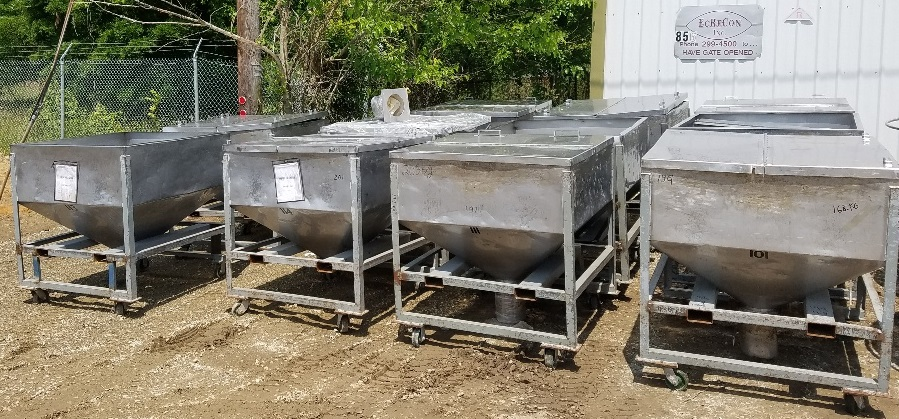(13) Approx 30 cu.ft. Stainless Steel tote tank (~225 gal). Portable on wheels. 4' x 4' x 18