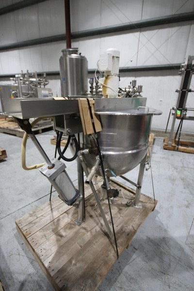 used Lee 100 Gallon jacketed Kettle with scrape agitation. Model 100D7-T, S/N B1699A1, Jacket 90 PSI @ 322 F 140 PSI, NAT'L Board 3691, Mounted on S/S Legs, with Top Mounted 1 HP, 230/460 volt motor into SEW gear reducer with 27 RPM output Agitation Motor. 3' Dia. x 6' OAH.  Last used in sanitary application.
