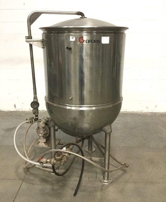 Used Groen 80 gallon Model KR-80 Jacketed Steam Sanitary Kettle. Jacket rated 25 PSI @ 300 Deg.F. S/N T23912.  NB# 3912.