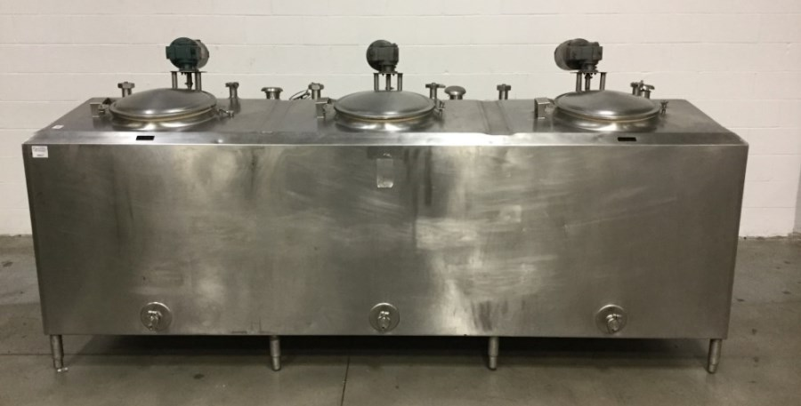***SOLD*** Cherry-Burrell 3 Compartment Stainless Steel Jacketed Mixing Flavors Tank. Sanitary. Each Compartment is approx. 230 gallons each (690 gal total), 32