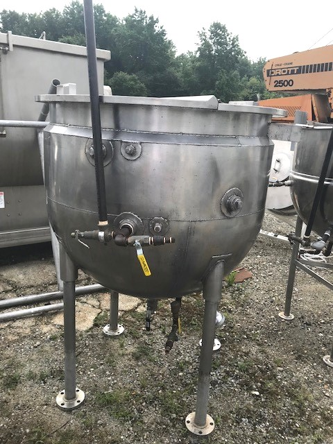 ***SOLD*** (2) Used 150 Gallon B&G Steam Jacketed Kettle. Jacket Rated 50 PSI @ 250 (-20) Deg.F. 44