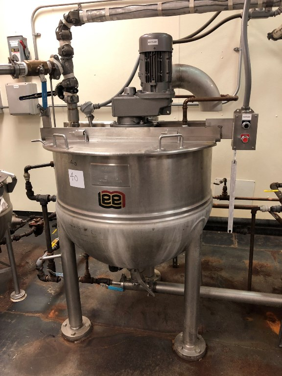 used Lee 100 gallon Jacketed Kettle with scrape agitation. Model 100D7S. Stainless Steel. Jacket rated 125 PSI @ 366 Deg.F.. NB#12763, 4