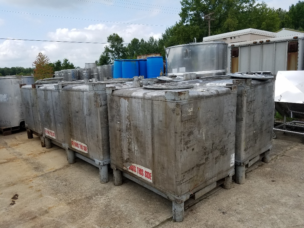 ***SOLD*** (8) used 345 Gallon Stainless Steel IBC Tote/Tank. 3'6