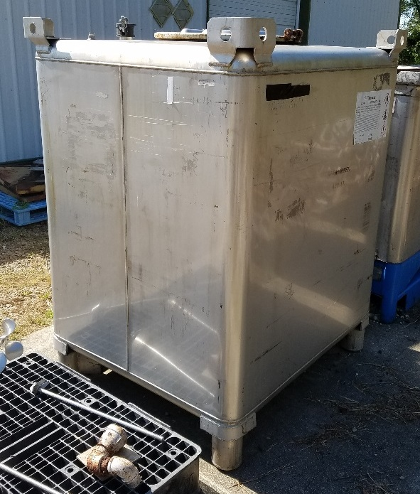 ***SOLD*** used 450 Gallon (1,688 Liter, 446 Gal.) Stainless steel IBC Tank/Tote. Built by Clawson Container Co.  Rated UN31A/Y for the transportation and storage of hazardous chemicals. 4' x 3'6