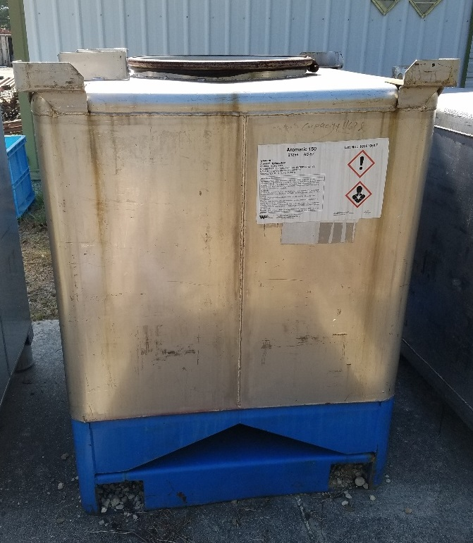 used 300 Gallon (1,162 Liter) Stainless steel IBC Tank/Tote. Rated UN31A, DOT 57 for the transportation and storage of hazardous chemicals. Rated Gross Weight: 3,592 lbs.  3'6
