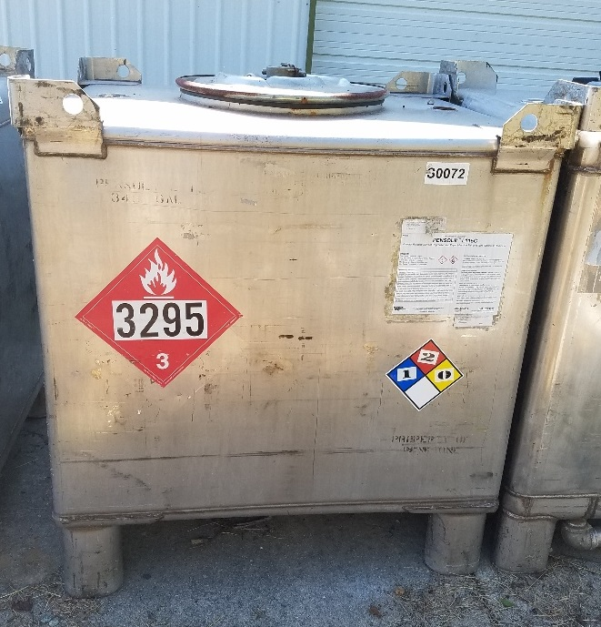 used 350 Gallon (1,325 Liter) Stainless steel IBC Tank/Tote. Built by Manheimer.  Rated UN31A/Y for the transportation and storage of hazardous chemicals. Rated Gross Weight: 3,800 lbs.  4' x 3'6