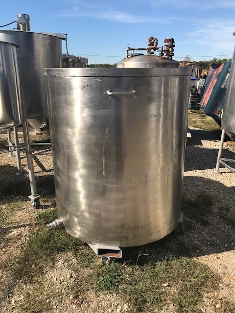 (3) used 375 gallon Stainless Steel Portable tanks/Totes.  4' dia. x 4'2