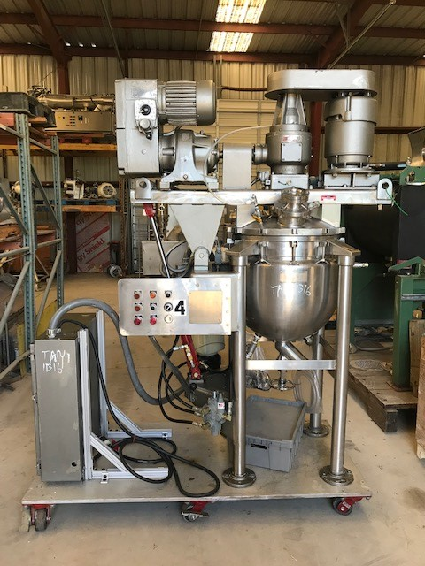 ***SOLD*** used 30 Gallon Greerco AGI Vacuum Triple Motion Mixing Kettle/Processor. 316 Stainless Steel.  Has counter rotating sweep mixer with scraper blades and high shear rotor/stator mixer.  Rated 40 PSI/Vacuum @ 287 Deg.F internal and Jacket rated 40 PSI @ 287 Deg.F. NB# 124. Last used in sanitary Pharmaceutical Application. Video of unit running available.