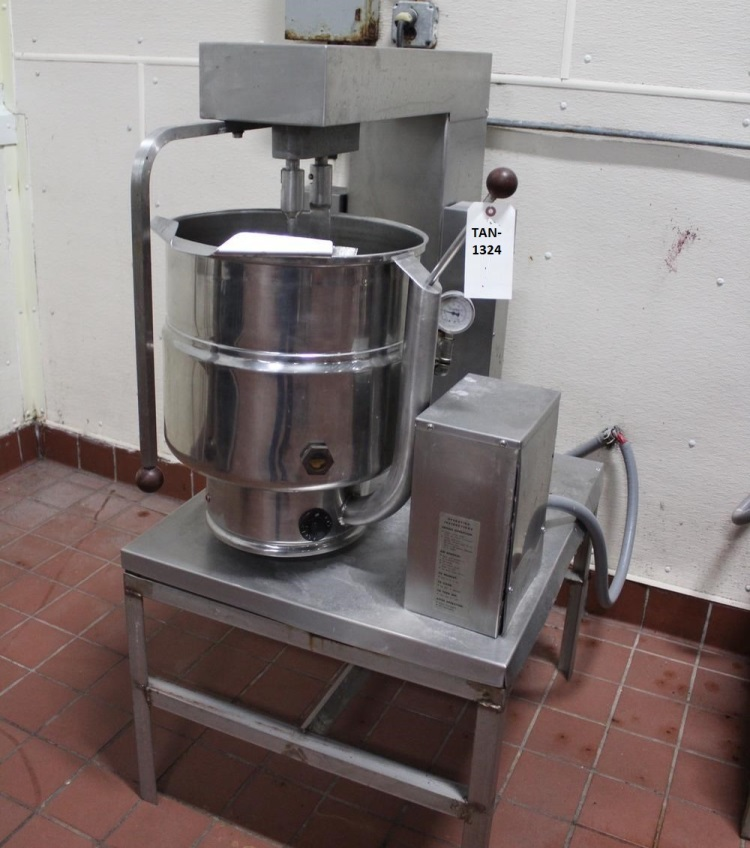 used Groen 40 Qt. Table Top Tilting Double Motion Jacketed Kettle with scraped surface mixer and tree. Electric Heat. Model TDB/7-40. S/N 65231.  Last used in sanitary food plant.