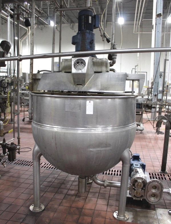 ***SOLD*** used 250 Gallon Hamilton Jacketed Kettle with Triple motion agitation.  Has Scrape Surface and Dual Christmas tree Agitators. Jacket rated 90 PSI @ 320 Deg.F. Model# SA. NB# 688. S/N 8150. 5 HP motor into gear box with 38 RPM output on sweep. 3