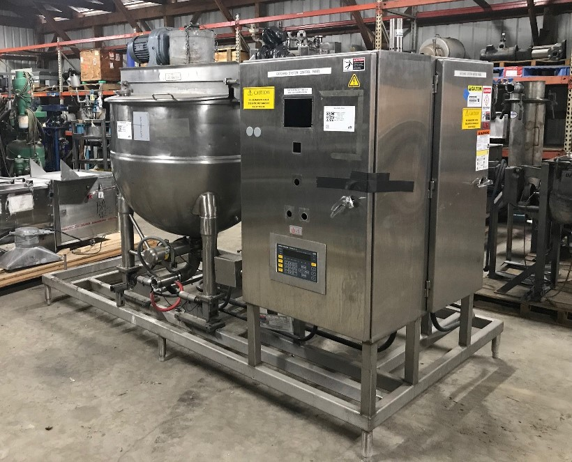 ***SOLD*** used 150 Gallon Groen Double motion Mix Kettle skid with heater and load cells. Includes a model N150SP double motion mix kettle with scrapers, jacket rated 100 PSI @ 338 degF.  Kettle is 42