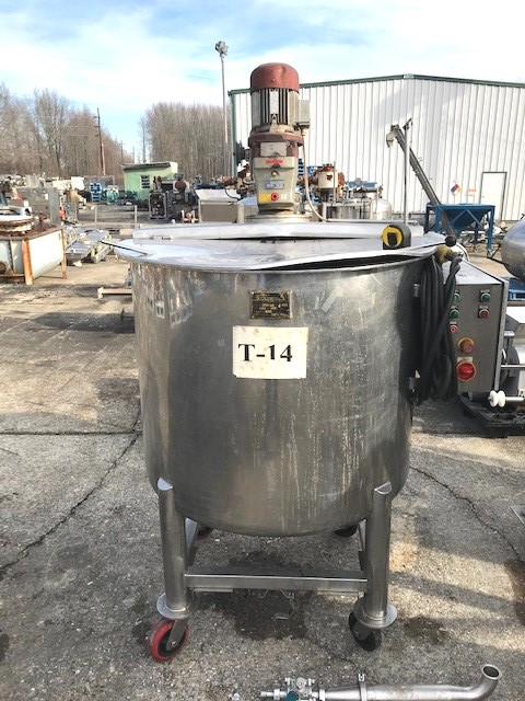 ***SOLD*** used 180 gallon (700 Liter) Stainless Steel Portable Mix Tank. Open top and Dish Bottom. Mounted on Wheels. 3'6