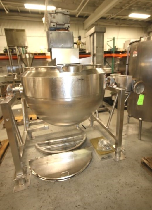 used 150 Gallon Feldmeier Double Motion Jacketed Mix Kettle with Tilt capability. 316L Stainless Steel. Has Hydraulic Tilt Mechanism. Agitation is 5 HP 20 RPM Scrape Surface Agitation & 5 HP 48 RPM (2) Bladed Turbine Agitation. 3