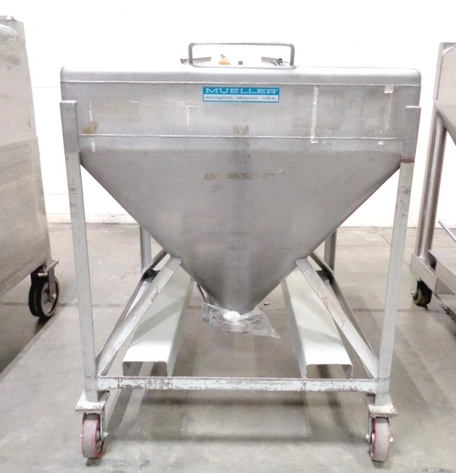 (10) used Mueller 20 CU.FT. (140 Gallon) Stainless Steel Portable Powder Totes with discharge butterfly valves, 42
