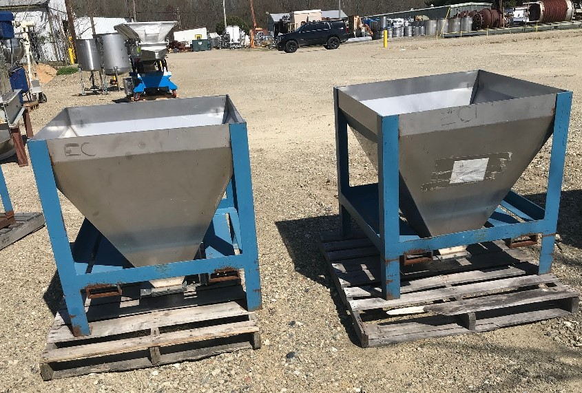 ***SOLD*** 2 used 10 Cu.Ft. Stainless Steel Tote hoppers. 3' x 3' x 3' deep with 5