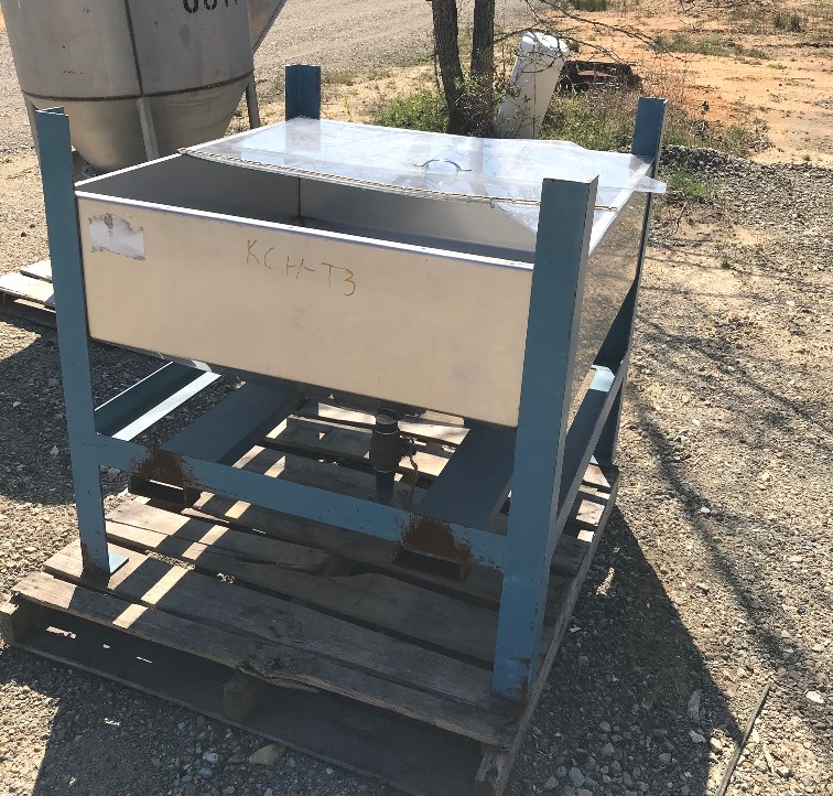 used 125 Gallon (17 Cu.Ft.) stainless steel tote tank. 42