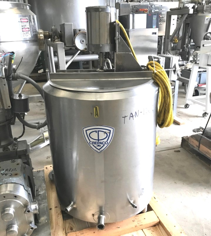 used 50 Gallon Sanitary Jacketed Portable Stainless Steel Mix Tank/Pasteurizer. Built by Crepaco. Jacket rated 75 PSI @ 315 Deg.F.. Mixer is 1/2 HP, 1725 rpm Agitator, 230/460 V, 3 Phase, 1.5