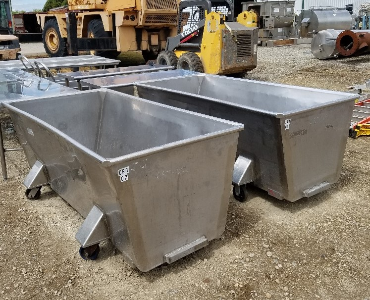 (2) 250 Gallon Stainless Steel Sanitary Portable Tanks/Totes. Rectangular 24