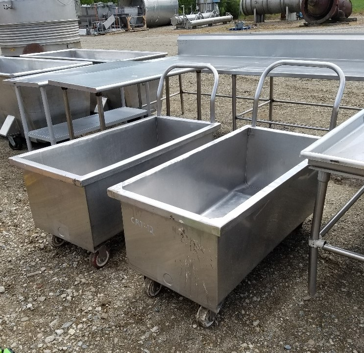 (2) 70 Gallon Stainless Steel Sanitary Portable Tanks/Totes. Rectangular 21