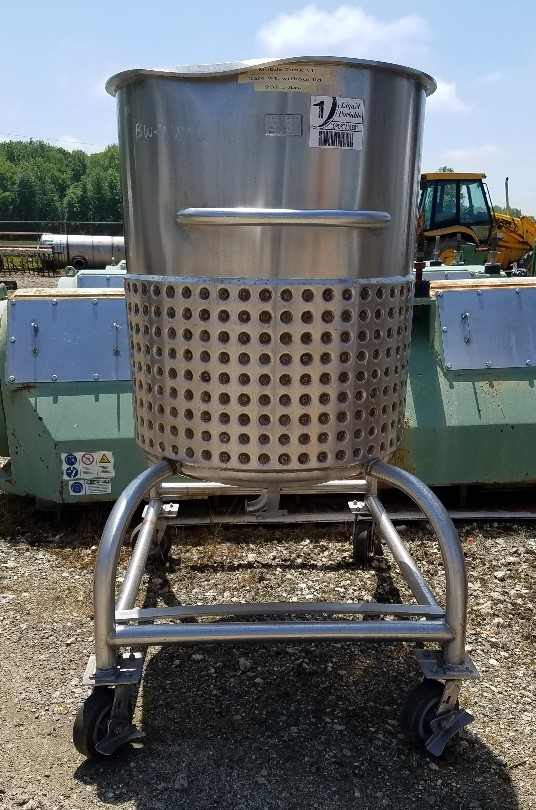 used 100 gallon Sanitary Stainless Steel Jacketed Tank.  Dish bottom, portable on wheels/casters.  Jacket rated 20 PSI.  30