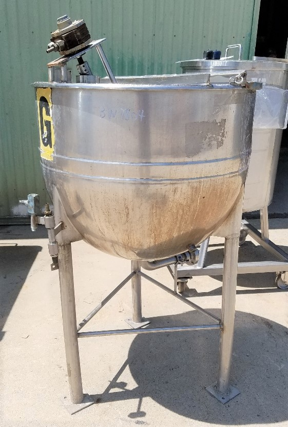 used 50 Gallon LEE Kettle. Equipped with pneumatic air agitator with disperser type mixing blade. Jacket rated 90 PSI @ 330 Deg.F. Previously used in sanitary food plant.