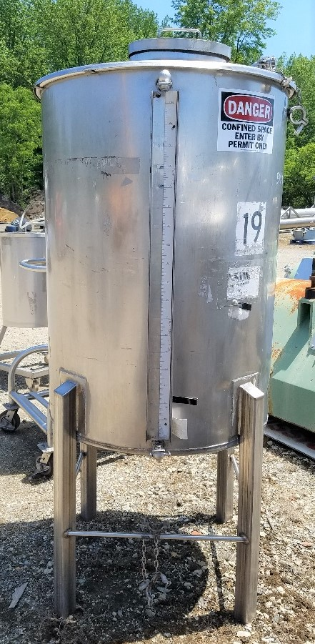 used 200 gallon Sanitary Stainless Steel Tank. Has provision to mount agitator/mixer. Flat top, cone bottom.  36